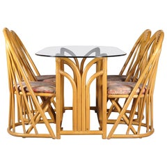French Bamboo Table and Chairs Set, 1970s