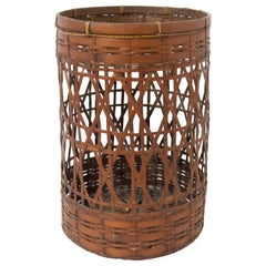 French Bamboo Wastepaper Basket Art Deco, circa 1930