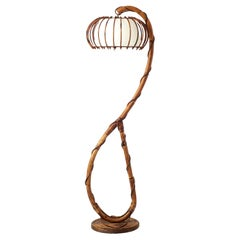 French bambou and Rattan Floor Lamp Mid Century 1960's