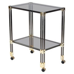 French Bar Cart in Nickel, Brass and Smoked Glass, 1970s