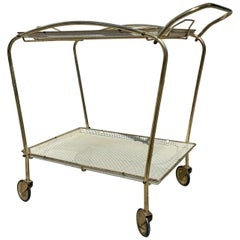 French Bar Trolley Serving Tables in the Style of Mathieu Matégot, 1950s