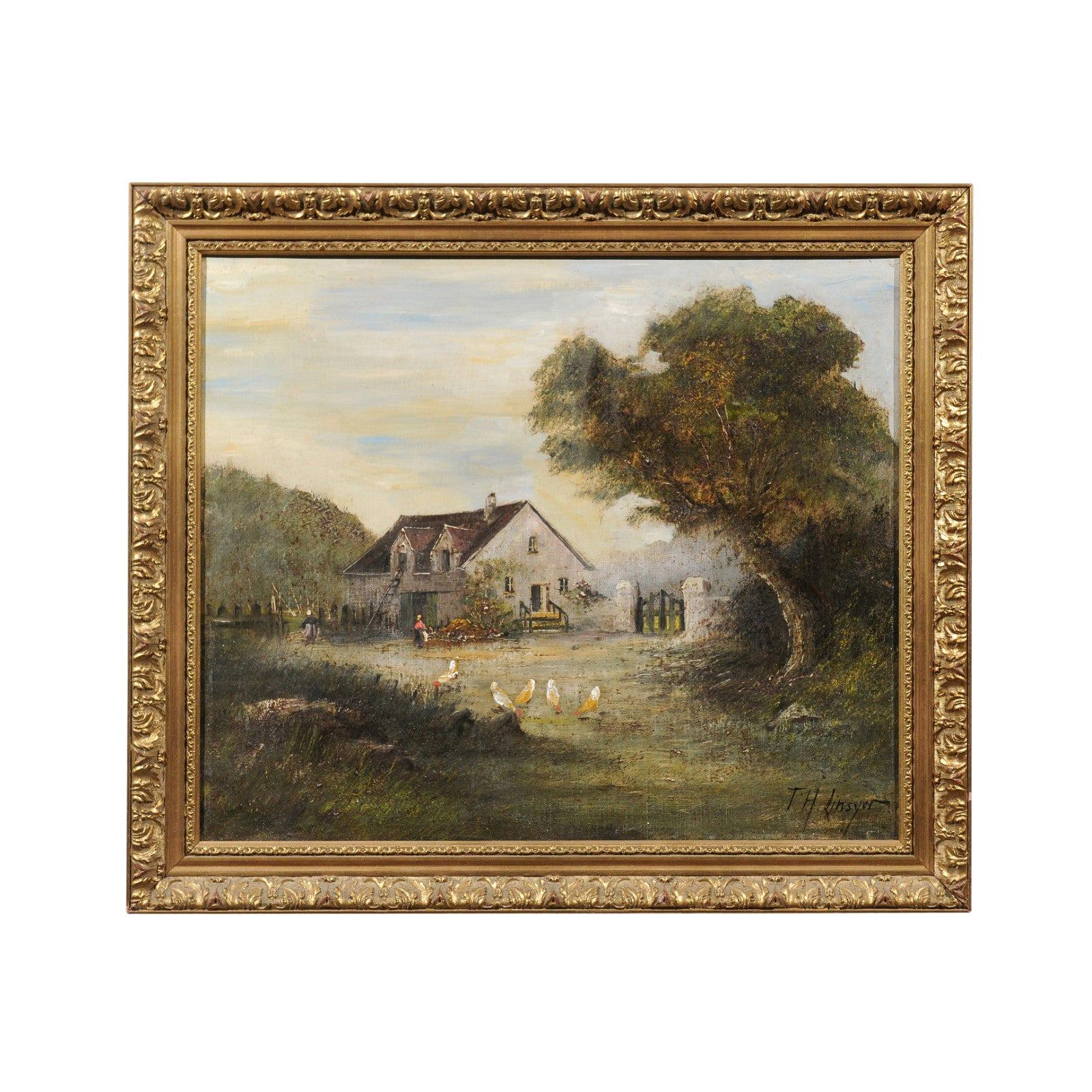 French Barbizon School Framed Oil on Canvas Pastoral Painting Signed Th. Linsyer