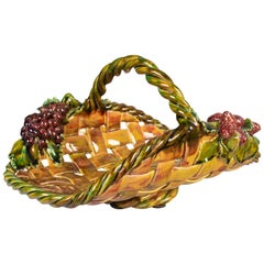 French Barbotine Basket with Grapes and Strawberries