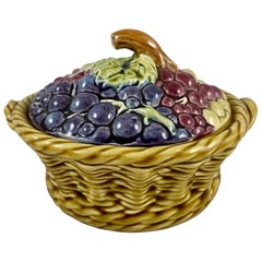 French Barbotine Majolica Sarreguemines Basket of Grapes Covered Tureen