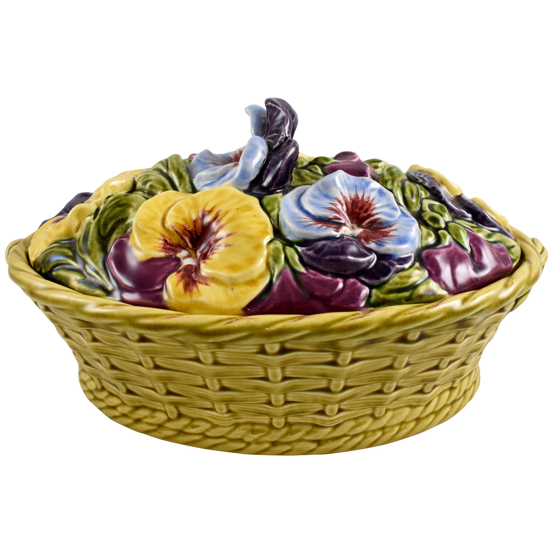 French Barbotine Majolica Sarreguemines Basket of Pansies Covered Tureen