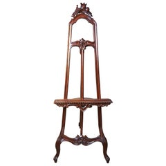 French Baroque Carved Mahogany Floor Easel Painting Art Display Stand