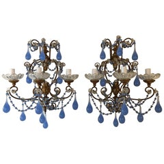 French Baroque Periwinkle Lavender Purple Opaline Drop Beads Sconces