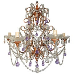 French Baroque Purple Lavender Murano Drops Crystal Prisms Swags Old Chandelier