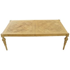 French Baroque Regency Parquetry Inlaid Dining Table of Wood Flooring