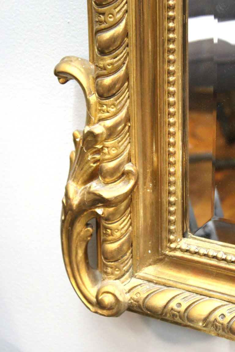 19th Century French Baroque Revival Giltwood Wall Mirror For Sale