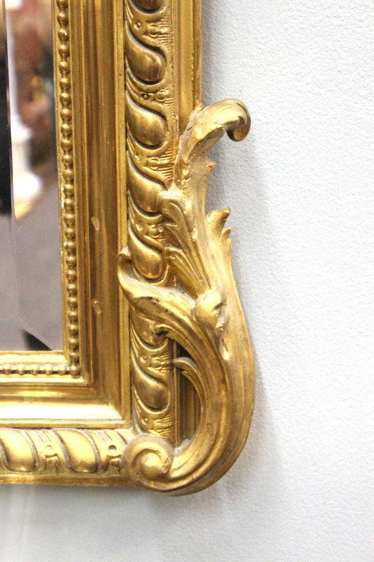 French Baroque Revival Giltwood Wall Mirror For Sale 1