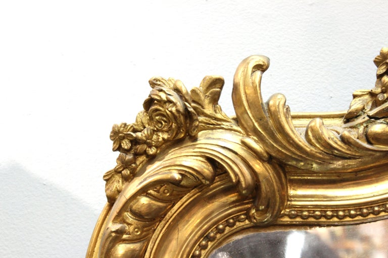 French Baroque Revival Giltwood Wall Mirror For Sale 4