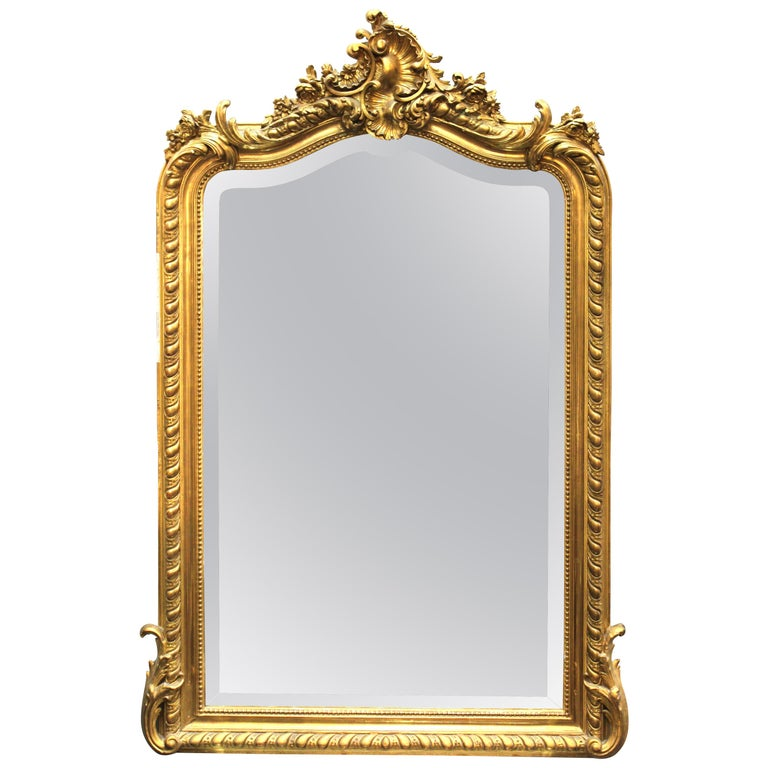French Baroque Revival Giltwood Wall Mirror For Sale