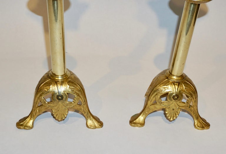 French Baroque Revival Pair of Gilt Bronze Ormolu Pricket Candlesticks, 1880s For Sale 1