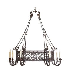 French Baroque Revival Wrought Iron Octagonal 8-Light Chandelier 19th Century