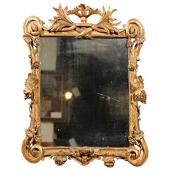 French Baroque Style 19th Century Carved Giltwood Mirror with Grapes and Volutes