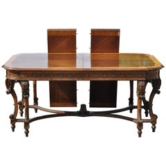 French Baroque Style Banded and Inlaid Walnut Dining Room Table with 2 Leaves