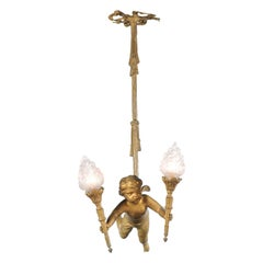 French Baroque Style Gilt Bronze Chandelier with Cherub Holding Two Torches