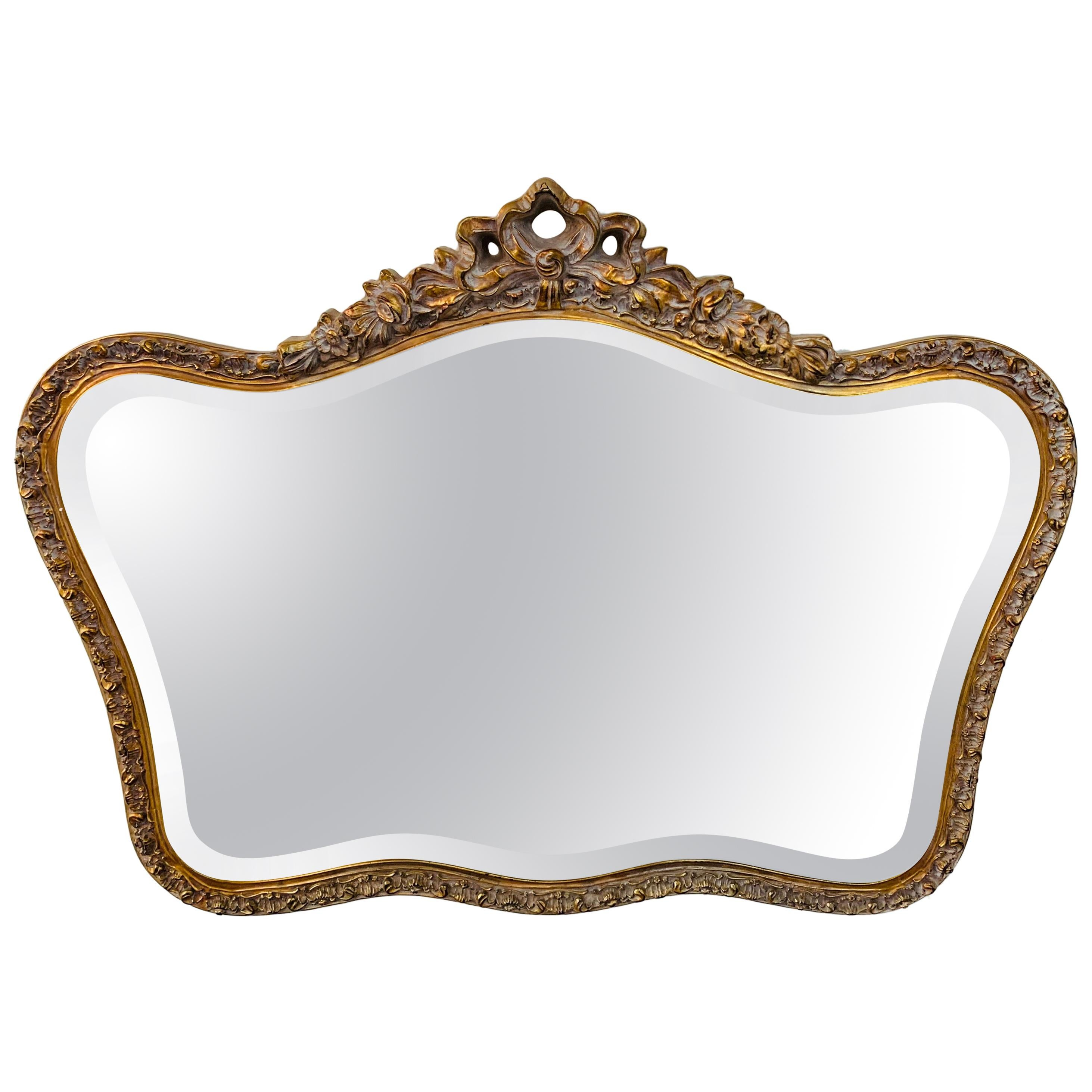 French Baroque Style Giltwood Carved Mirror