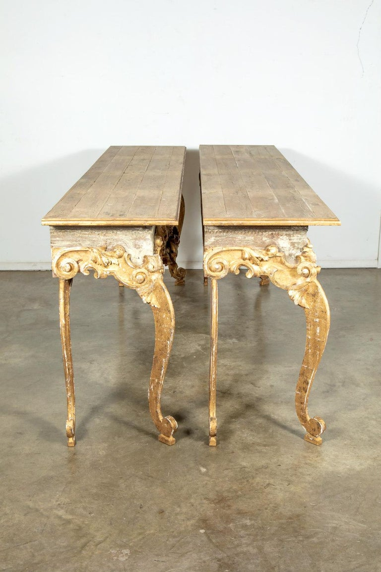 French Baroque Style Painted and Parcel Gilt Fragment Console Tables (pr. avail) For Sale 11