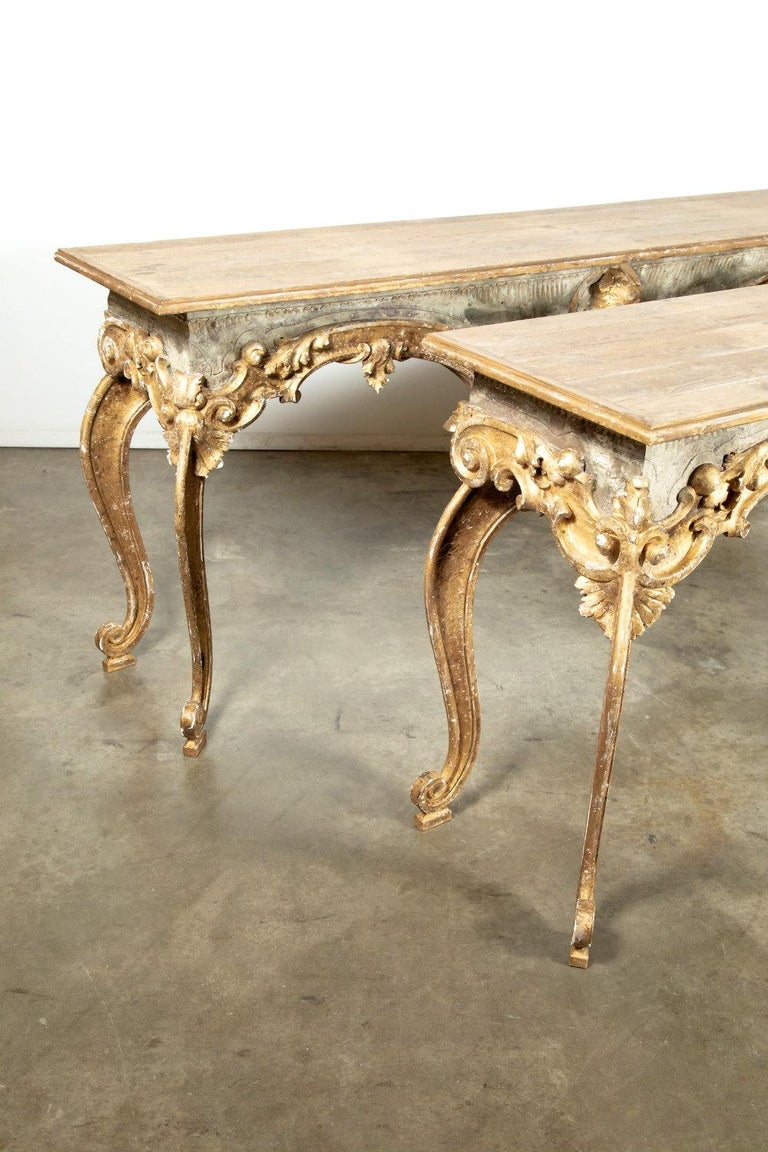 French Baroque Style Painted and Parcel Gilt Fragment Console Tables (pr. avail) For Sale 12