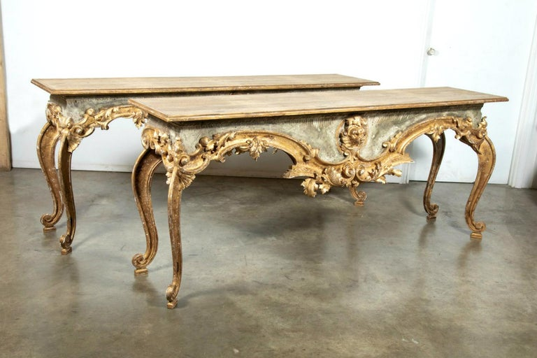 French Baroque Style Painted and Parcel Gilt Fragment Console Tables (pr. avail) For Sale 13