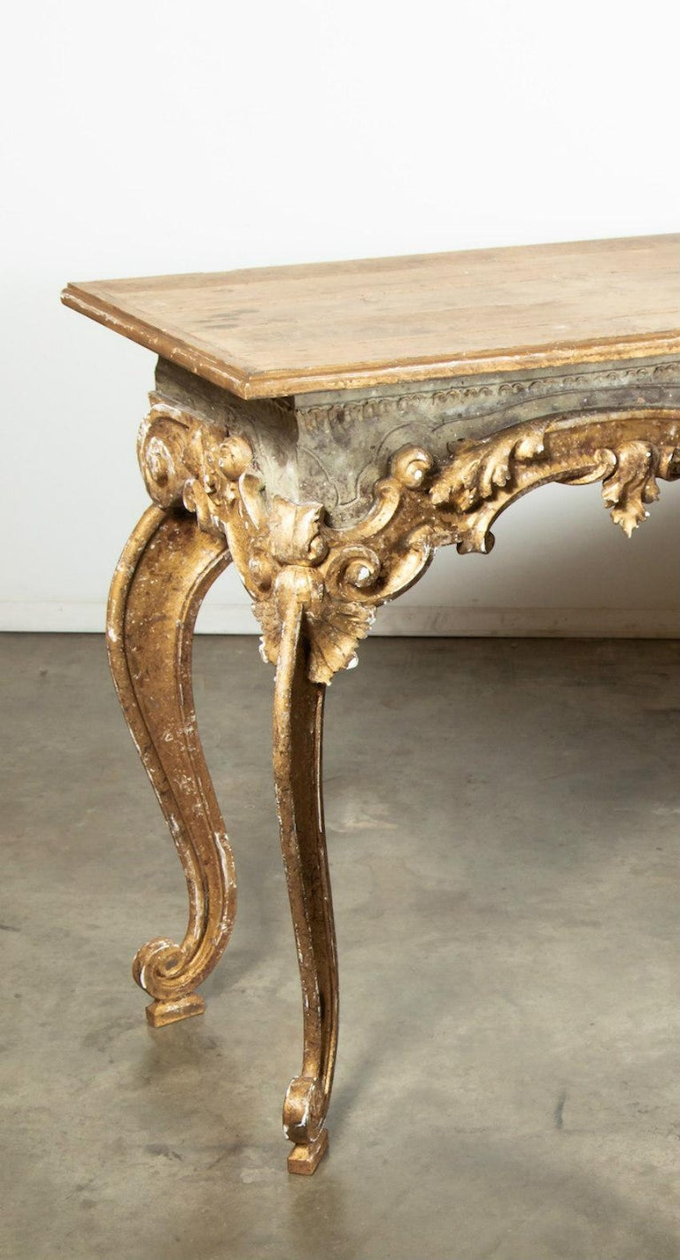 French Baroque Style Painted and Parcel Gilt Fragment Console Tables (pr. avail) For Sale 3