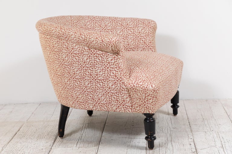Fabric French Barrel Chair and Ottoman For Sale
