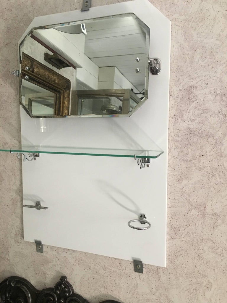 French Bathroom Adjustable Mirror with Shelf and Accessories from 1920s For Sale 6