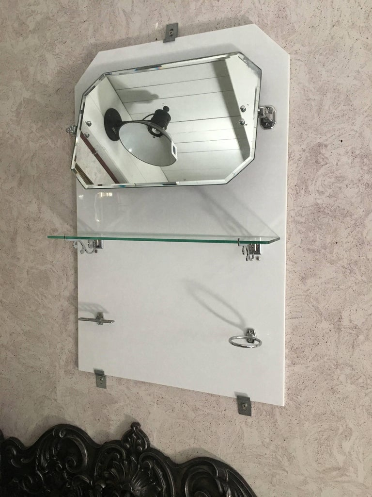 French Bathroom Adjustable Mirror with Shelf and Accessories from 1920s For Sale 7