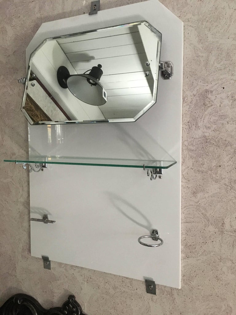 French Bathroom Adjustable Mirror with Shelf and Accessories from 1920s For Sale 8