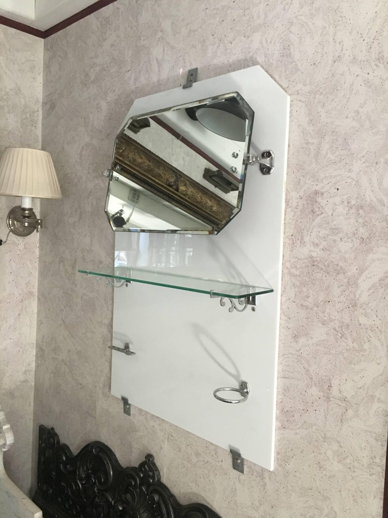 Art Deco French Bathroom Adjustable Mirror with Shelf and Accessories from 1920s For Sale