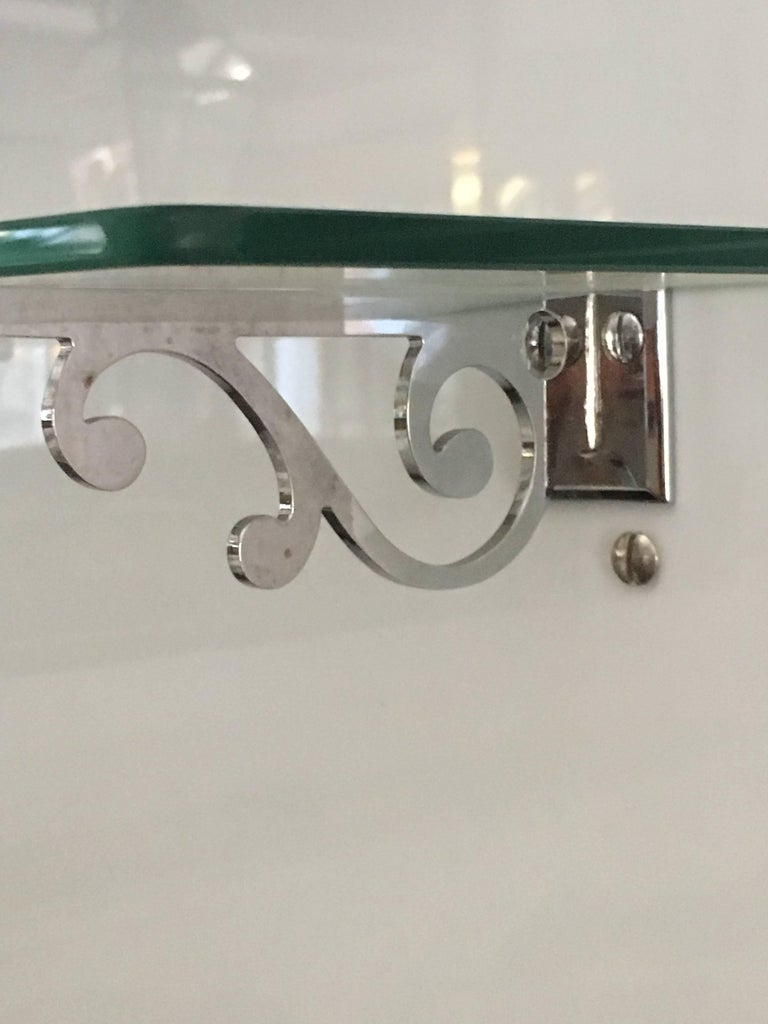 French Bathroom Adjustable Mirror with Shelf and Accessories from 1920s For Sale 2