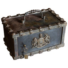French Bauche Studded Travelling Strongbox Safe, circa 1870-1880