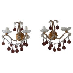 French Beaded Amethyst Murano Drops Sconces, circa 1920