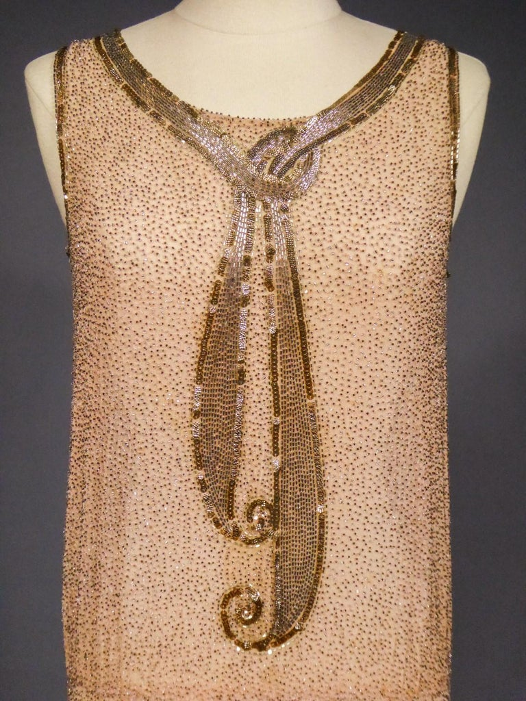 Beige French Beaded and sequins embroidered Couture Flapper Dress Circa 1925 For Sale