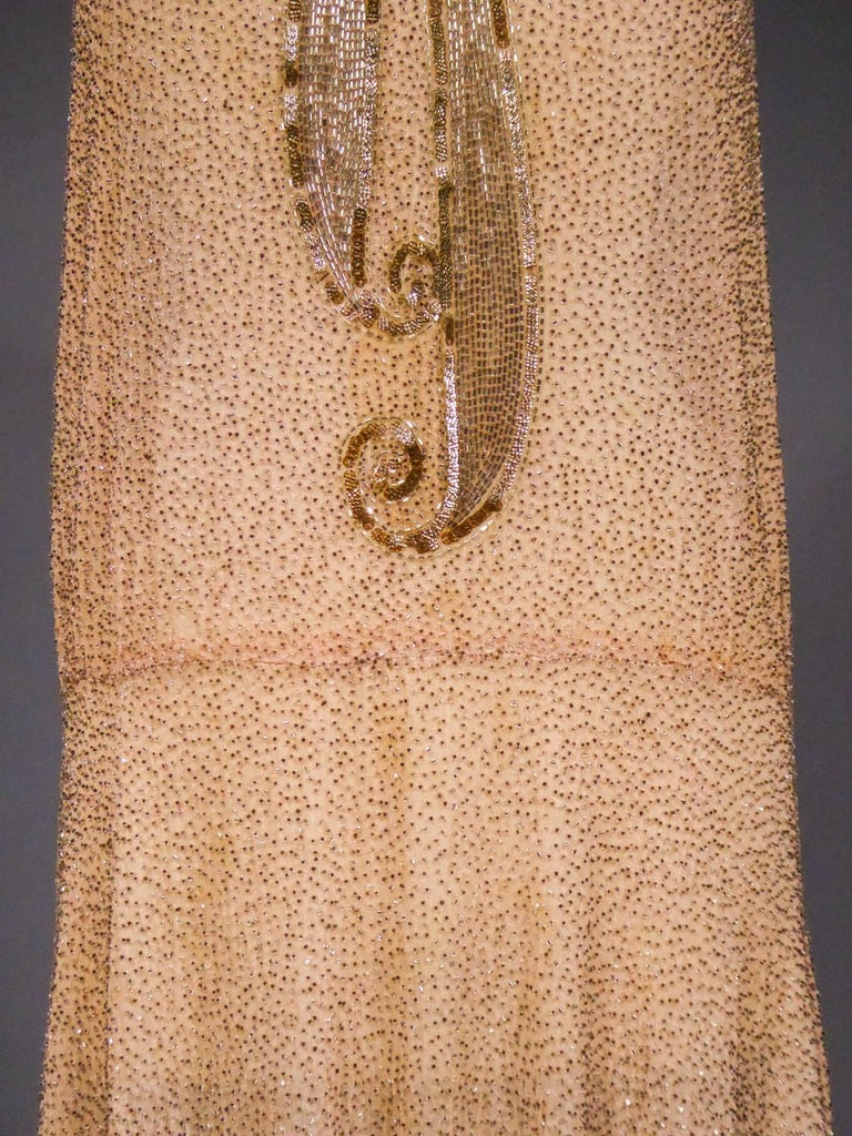 French Beaded and sequins embroidered Couture Flapper Dress Circa 1925 In Excellent Condition For Sale In Toulon, FR