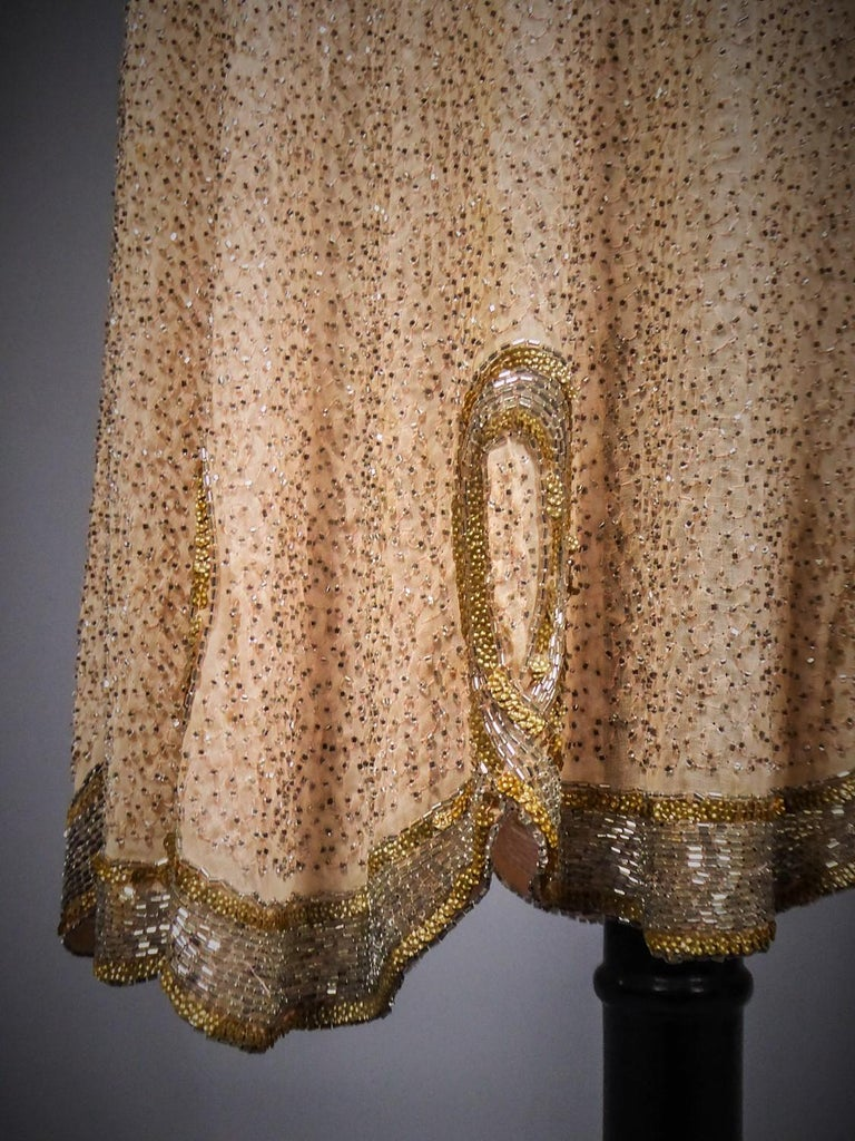 Women's French Beaded and sequins embroidered Couture Flapper Dress Circa 1925 For Sale
