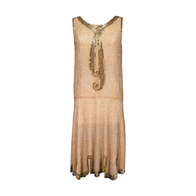 French Beaded and sequins embroidered Couture Flapper Dress Circa 1925 For Sale