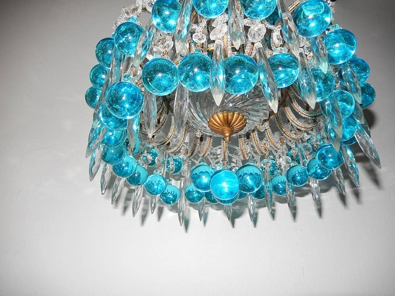 Early 20th Century French Beaded Aqua Blue Murano Balls and Crystals Chandelier