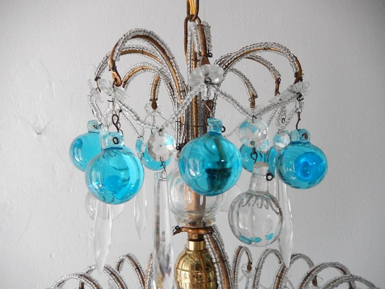 French Beaded Aqua Blue Murano Balls and Crystals Chandelier 2