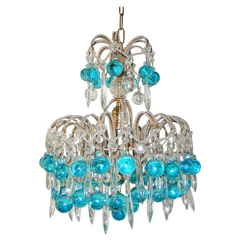 French Beaded Aqua Blue Murano Balls and Crystals Chandelier