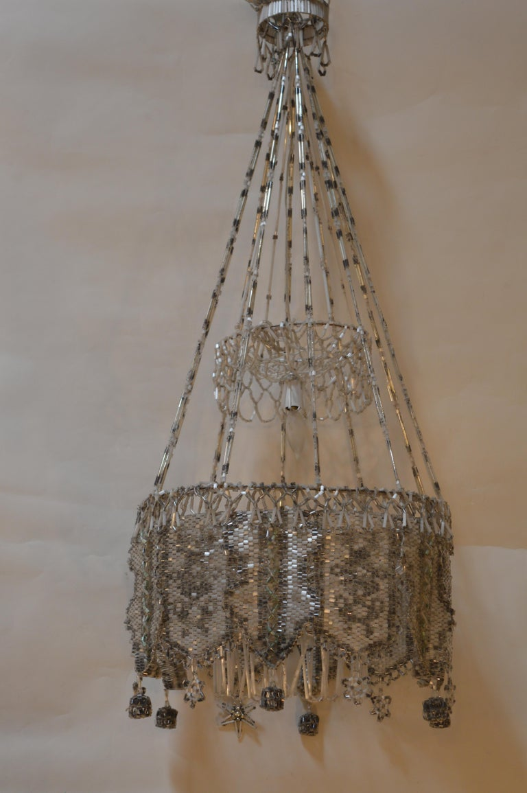 Intricately beaded chandelier from France.