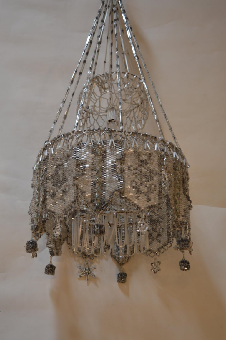 French Beaded Chandelier In Good Condition For Sale In Los Angeles, CA