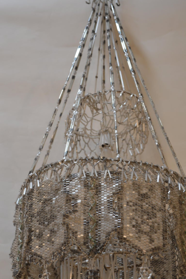 20th Century French Beaded Chandelier For Sale