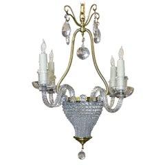Französischer Perlenbesetzer Kristall Korb Kronleuchter