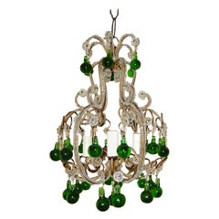 French Beaded Forest Green Drops Petit Beaded Small Chandelier, circa 1920