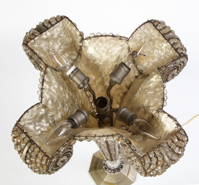 French Beaded Glass Table Lamp, Attributed To Maison Bagues, Circa 1925 For Sale 8
