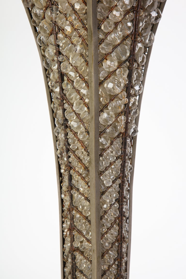 French Beaded Glass Table Lamp, Attributed To Maison Bagues, Circa 1925 In Good Condition For Sale In New York, NY