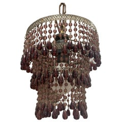 French Beaded Hanging Light Pendant